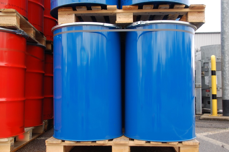 bigstock Red And Blue Oil Barrels