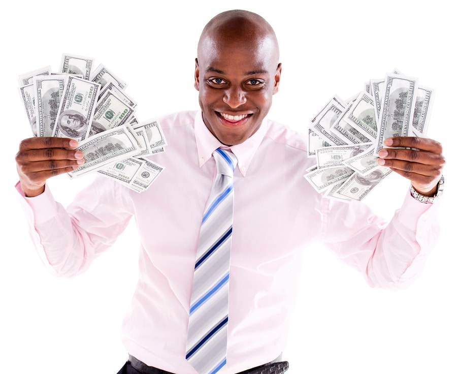 bigstock Rich business man with a bunch