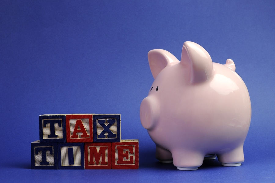 bigstock Pink Piggy Bank With Tax Time