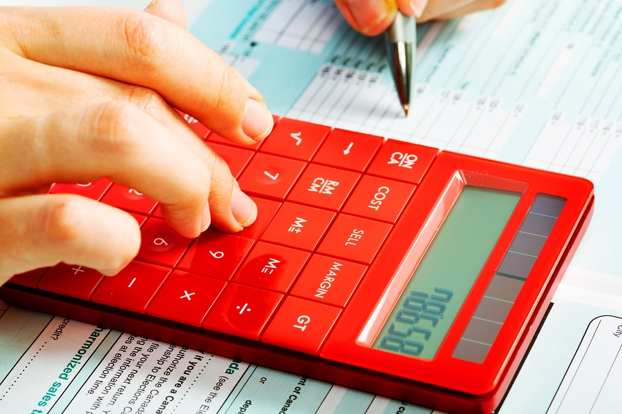 bigstock Hands of accountant with calcu