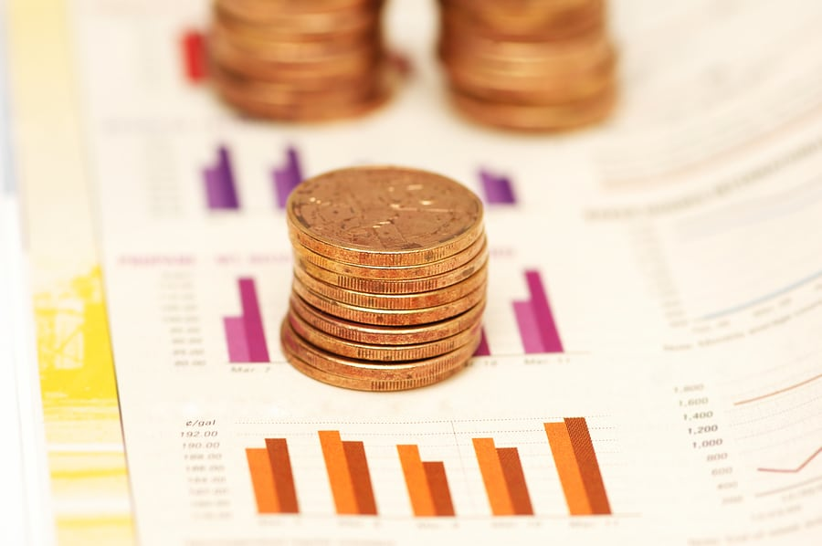 bigstock Stack Of Coins Over Bar Charts