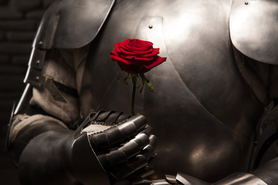 bigstock Knight giving a rose to lady