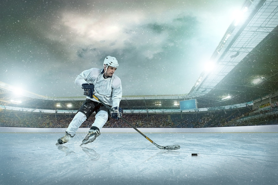 bigstock Ice hockey player on the ice
