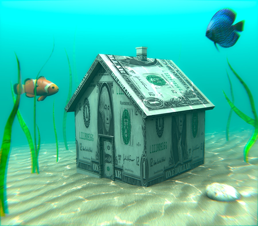 financial distress illustrated underwater
