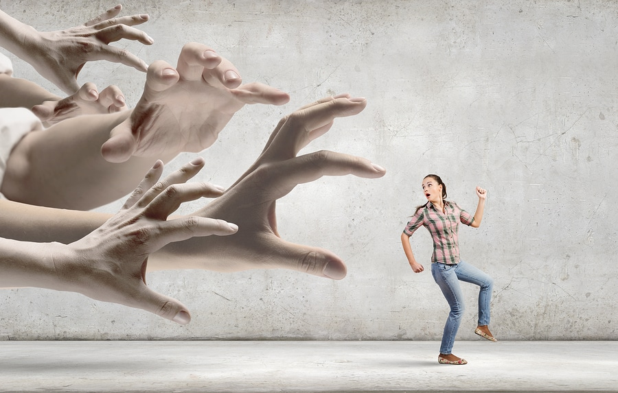 bigstock Young woman in casual escaping
