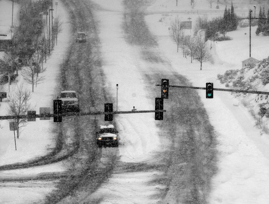 bigstock Snowy winter road with cars dr