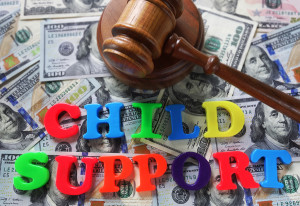 child support letters and money gavel