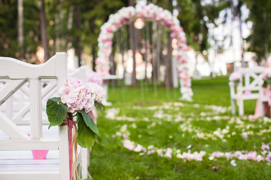 bigstock Wedding Benches And Flower Arc