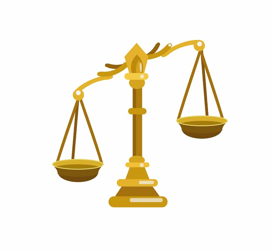 court case scales of justice