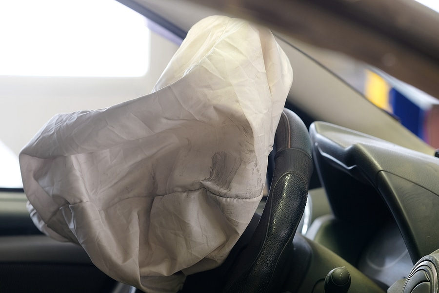 bigstock Airbag exploded at a car accid