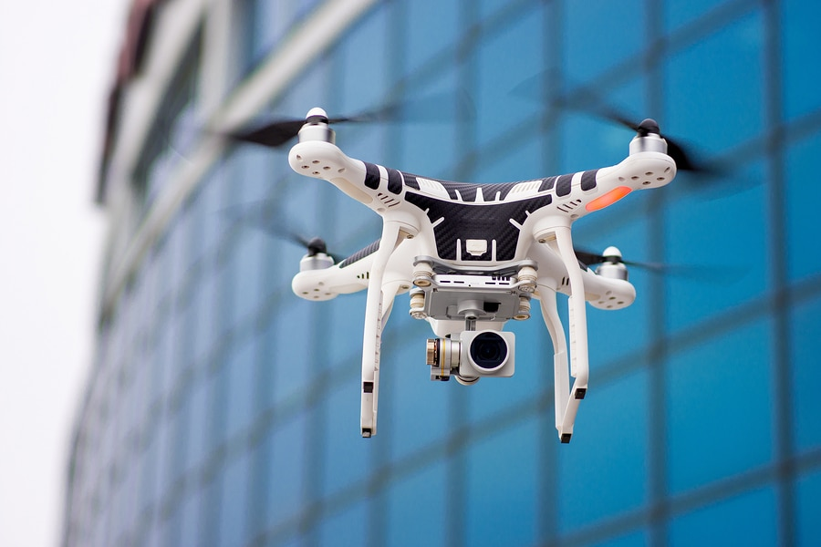 bigstock Hovering drone that takes pict