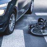 bicycle and car accident, crosswalk