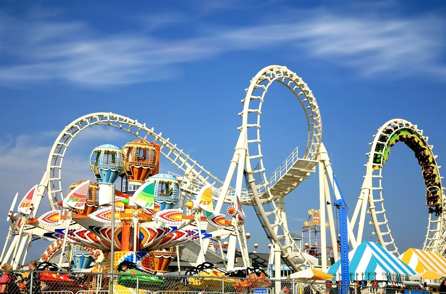 bigstock Amusement park rides with a ve