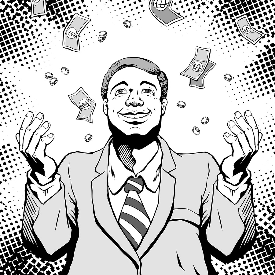 smiling man with money