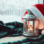 holiday lamp and hat