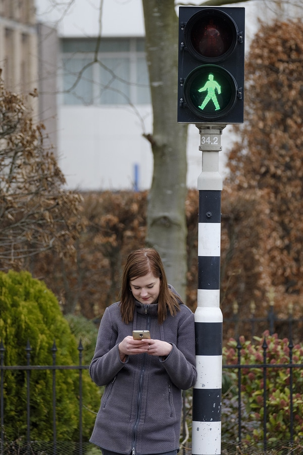distracted pedestrian on phone
