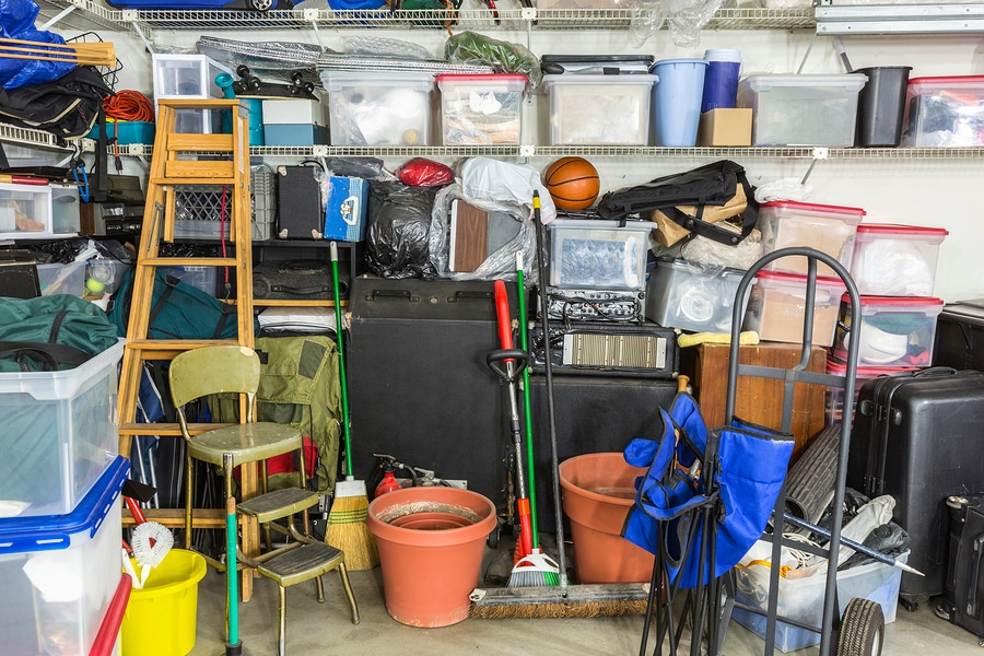 bigstock Messy cluttered garage filled
