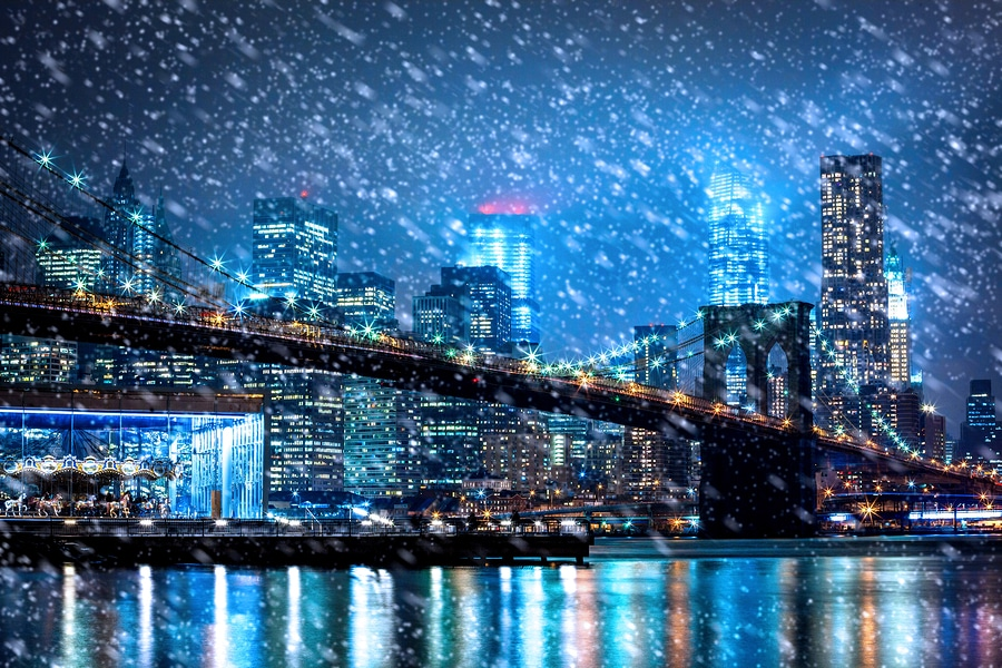 bigstock Snow Falling Down In New York