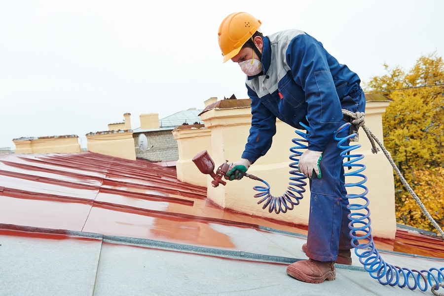 bigstock roofer builder worker with pul