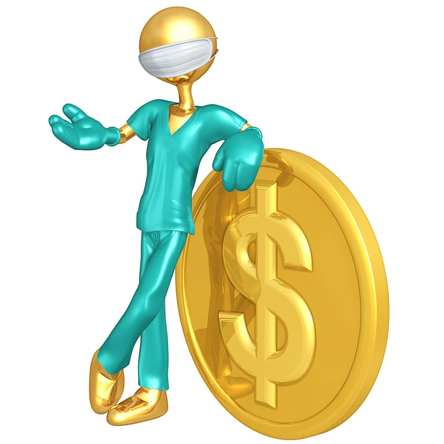 doctor figure with gold coin with dollar sign