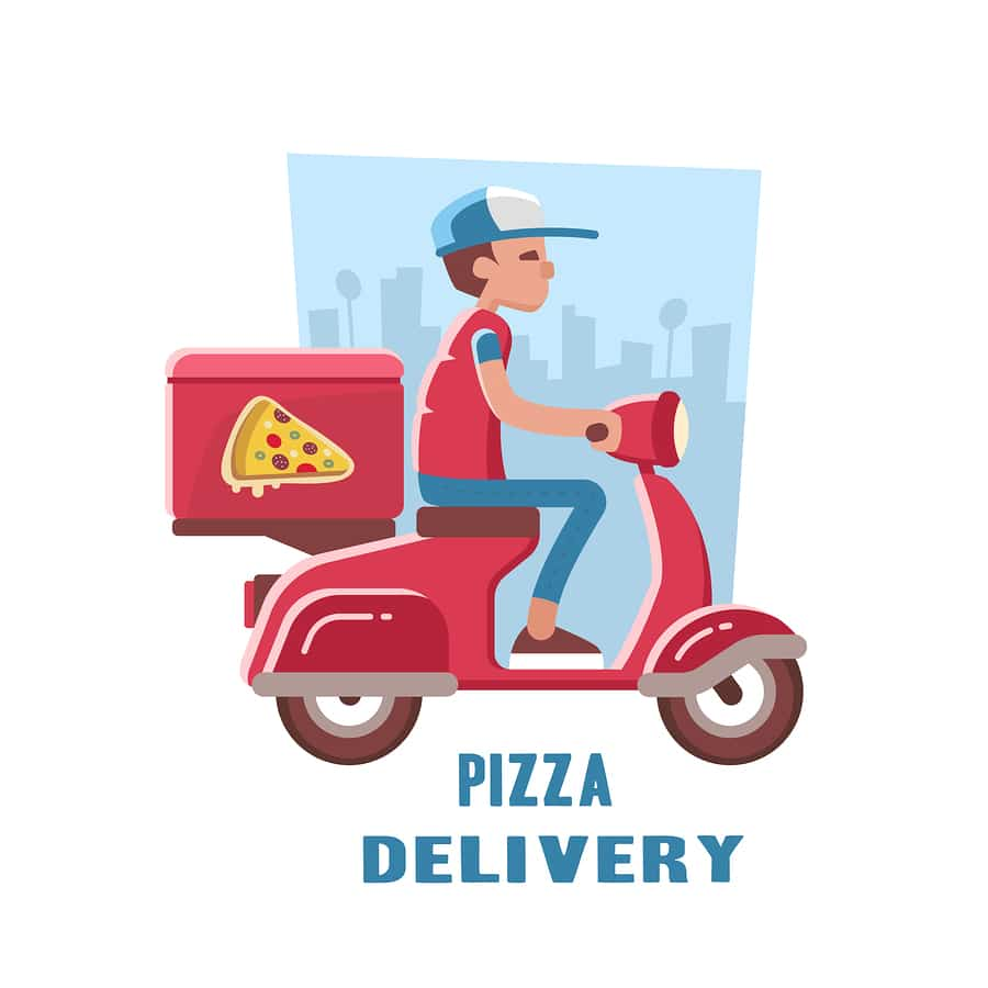 illustration man on scooter with pizza slice and city skyline in background