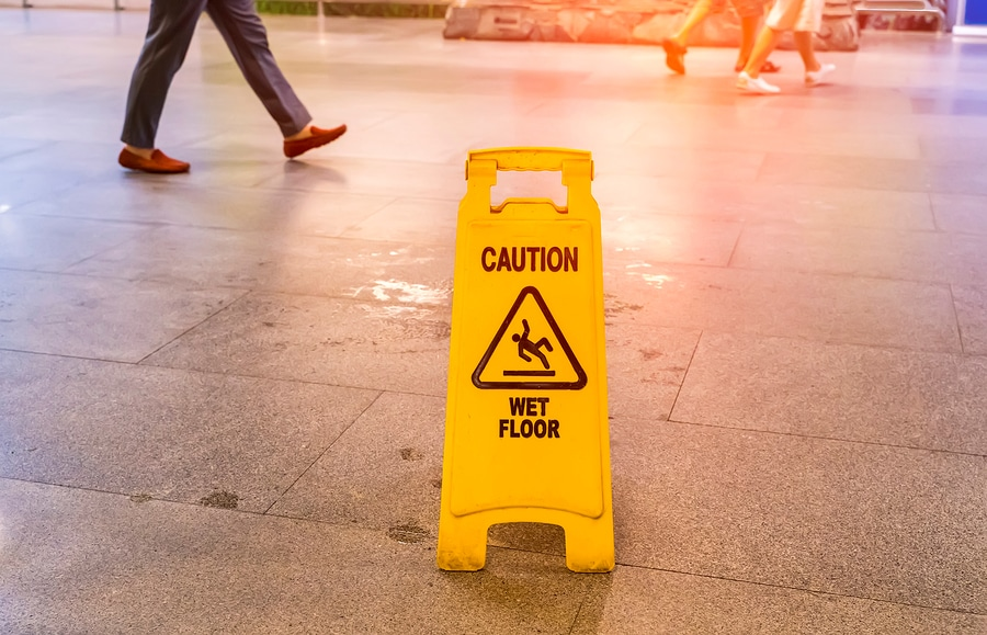 bigstock Caution wet floor sign in ma