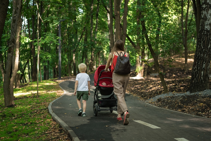 bigstock Young Mother Walking In Park W