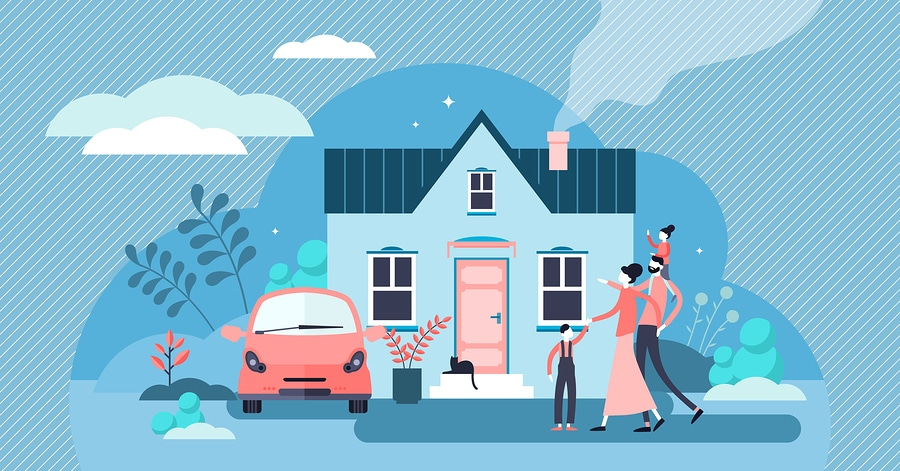 family and house illustration