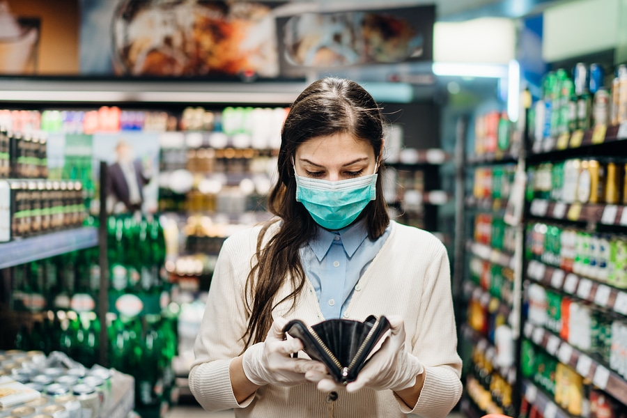 bigstock Worried Woman With Mask Grocer