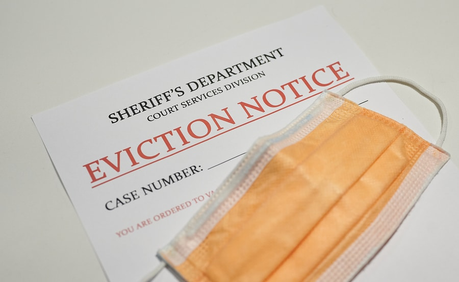 eviction notice and face mask